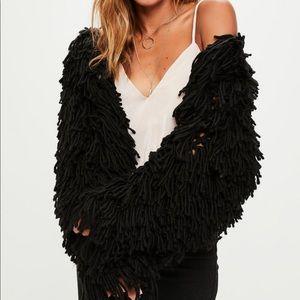 Black Shaggy Knit Cardigan